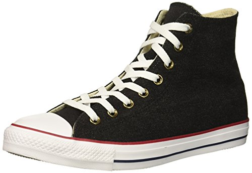 Converse Chuck Taylor All Star Denim HIGH TOP Sneaker, Black/White/Brown, 7 M -