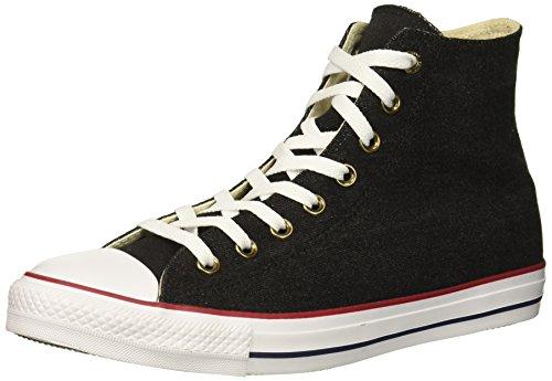 (Converse Chuck Taylor All Star Denim HIGH TOP Sneaker, Black/White/Brown, 6.5 M)