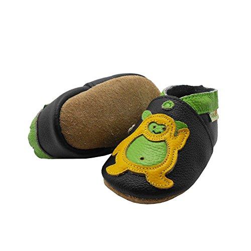 Sayoyo Suaves Zapatos De Cuero Del Bebé Zapatillas oso negro