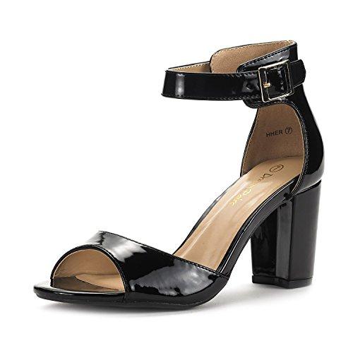 (DREAM PAIRS Women's HHER Black Pat Low Heel Pump Sandals - 6.5 M US)