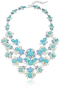 """Nine West Maldive's Glam Silver-Tone and Blue Drama Collar Necklace, 16"""" + 2"""" Extender"""