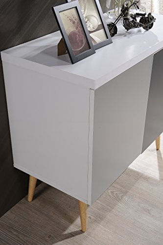 Hodedah HI690 Credenza Entry Way Accent Table, White-Grey by Hodedah (Image #3)