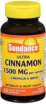 Sundance Ultra Cinnamon 1500 mg per Serving + Chromium & Biotin - 60 Capsules, Pack of 5 ()