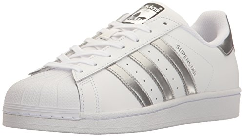 Black Metallic Stripe (adidas Originals Women's Superstar Fashion Sneaker, White/Silver Metallic/Black,7 B(M) US)