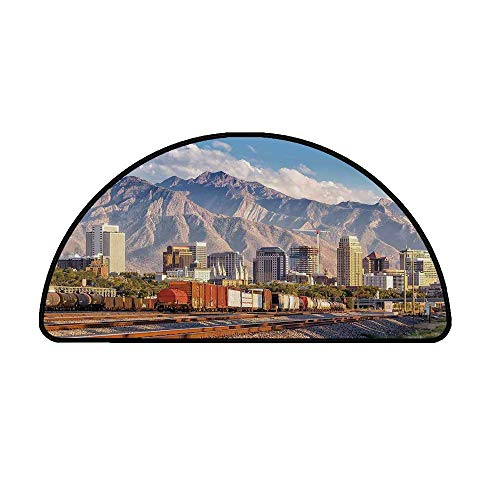 Landscape Comfortable Semicircle Mat,Downtown Salt Lake City Skyline in Utah USA Railroads Mountains Buildings Urban for Living Room,39.3