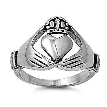 JewelryVolt Stainless Steel Ring Claddagh Irish Celtic Wedding Polished & Oxidized Casting (B 9)