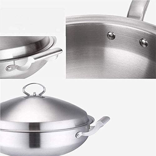 GzxLaY Wok sans revêtement épais de qualité Alimentaire 304 à Fond Plat Moins de fumée d'huile poêle antiadhésive pour cuisinière à Induction cuisinière à gaz d'incendie