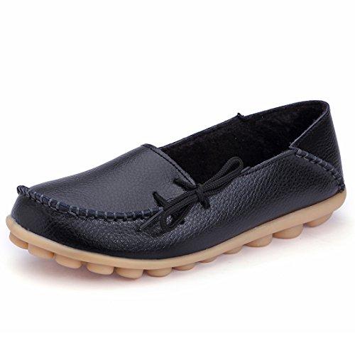 Womens Flat PU Casual Slippers Black - 1