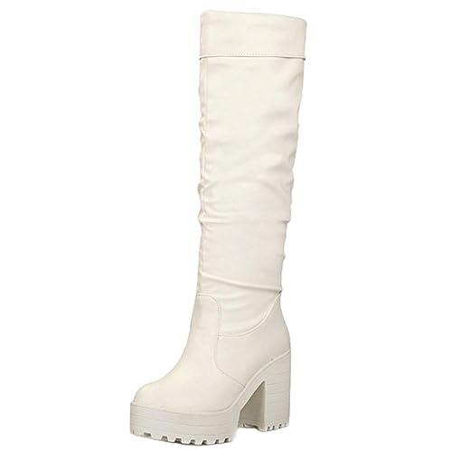 RAZAMAZA Mujer Plataforma Botas de Rodilla sin Cordones  Amazon.es  Zapatos  y complementos 21a6ef925e10b