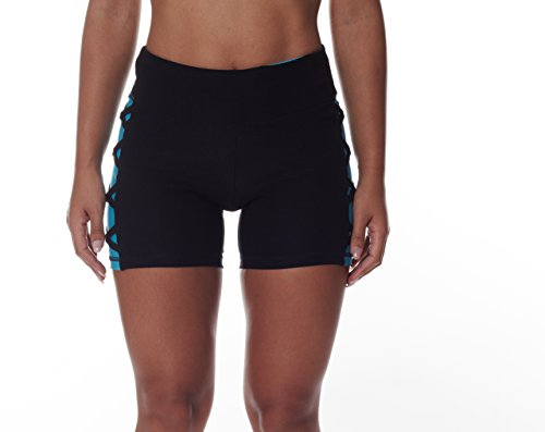 NYL Women's Running Shorts With Mock Cutout and Criss Cross Thigh Detail