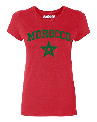 Promotion & Beyond Choose Your Country Flag Morocco Women's T-Shirt, 2XL, Red