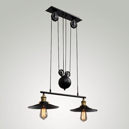 (Pendant lights Retro Adjustable Height Pulldown Island Ceiling Lamp Retro Industrial 1 Light/2 Lights/3 Lights (Color : 2-1))