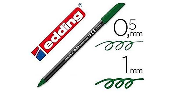 Edding - Rotulador punta fibra 1200 verde oliva n.15 -punta redonda 0.5 mm (5 unidades): Amazon.es: Oficina y papelería