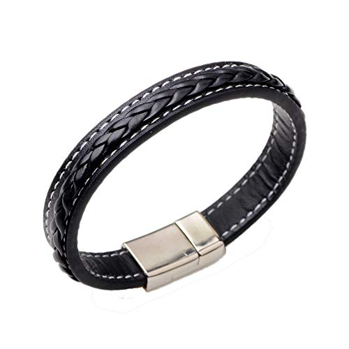 (TURTLEDOVE Mens Leather Bracelet Braided - Punk Bracelet for Men with Magnetic Clasp, Gift Ideas for Brother, Dad and Boyfriend (Black Leather))