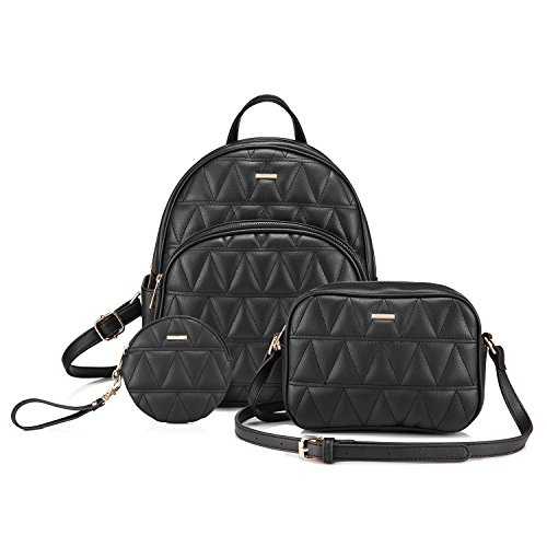 (Backpack Purse Quilted Casual Backpacks Handbags for Women Shoulder Bag Coin bag 3 Pieces Set Black )