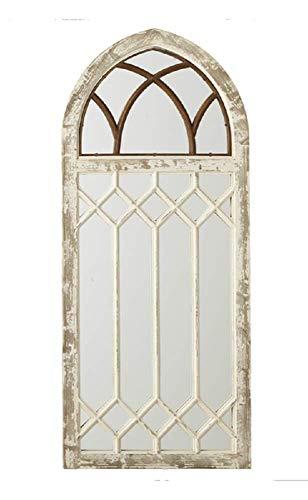 Ganz Distressed Arch Wall Mirror with Window Frame -
