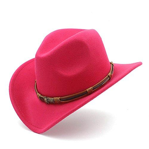 fieltro vaquero Fashion de diseño mujer Rosado con punk 58CM Sombrero 56 de Rojo bola con de Wkae de caqui RXP1HqxnH