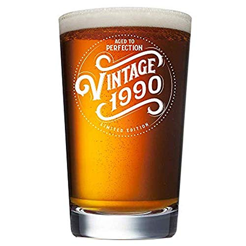 1990 29th Birthday Gifts for Women and Men Beer Glass - Funny 29 Year Old Vintage Anniversary Gift Ideas for Him, Her, Dad, Mom, Husband or Wife. 16 oz Pint -