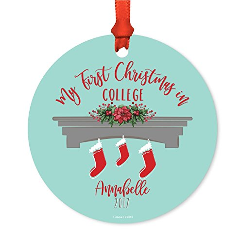 Andaz Press Personalized Graduation University Student Christmas Metal Ornament, My First Christmas in College 2019, Xmas Stockings on Fireplace, 1-Pack, Includes Ribbon and Gift Bag, Custom Name