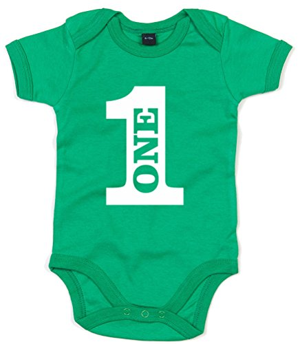 One, Birthday, Printed Baby Grow - Kelly Green/White 12-18 Months
