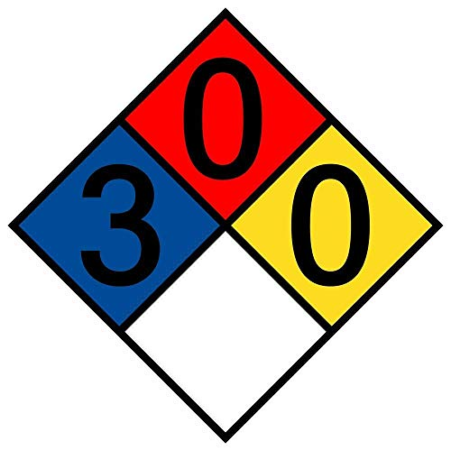 metal Signs NFPA 704 Hazmat Diamond Label with 3-0-0 Rating, 12 x 12 in. Multi Color