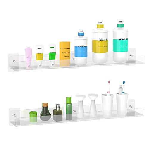 - Bathroom Shelf - 24 inch Clear Acrylic Bathroom Shelves Set of 2, Wall Mount Shower Caddy Organizer Display Shampoo, Toothbrush Cup, Cosmetics, Included Both Screws and No Drilling Adhesive