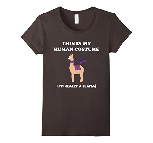 Secret Identity Costume (Womens Funny Llama T-Shirt Gift This Is My Human Costume Tee Large Asphalt)