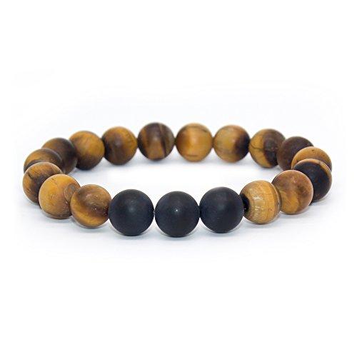 Bivei Natural Matte Finish Black Agate Onyx Tiger Eye Stone Healing Power Energy Crystal Gemstone Beaded Distance Bracelet for Men and Women(16 pcs Tiger Eye+3 pcs Black Agate) (Beaded Matte)