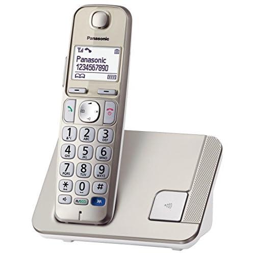 Panasonic KX TGE210 Teléfono DECT Altavoz 150 entradas Identificador de Llamadas Color Champán Versión Importada