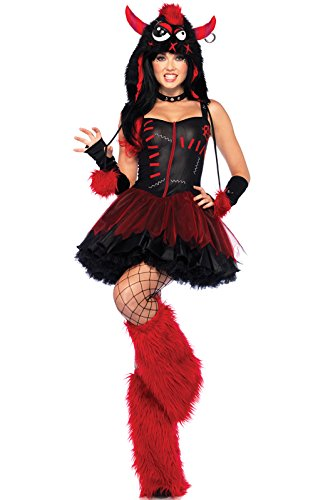 [Leg Avenue Women's 3 Piece Rebel Monster Costume, Black/Red, X-Small] (Red Furry Monster Costume)