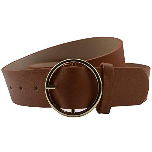 [MoYoTo Women's 36mm Round Bridle Buckle Casual Leather Jeans Belt Adjustable (Dark Camel)] (Dark Brown Leather Buckle)