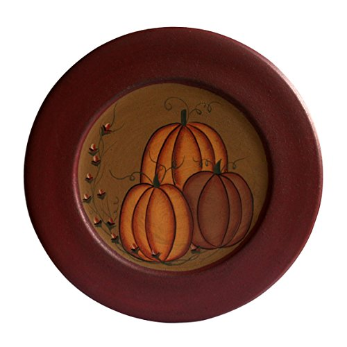 CVHOMEDECO. Primitive Antique Pumpkin Painted Wood Decorative Plate Halloween Display Wooden Plate Home Décor Art, 9-1/2