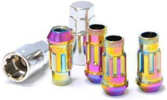 Muteki 32902N Neon Chrome 12mm x 1.5mm SR48 Open End Locking Lug Nut Set