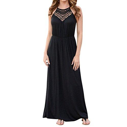 ace Dress Halter Dress Sleeveless Floor Length Dress Party Dress (XL, Black) ()