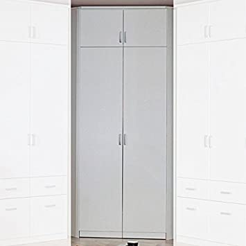 Eckkleiderschrank weiß  Eckkleiderschrank weiß 2 Türen 117 x 117 cm mit Aufsatz Schrank ...