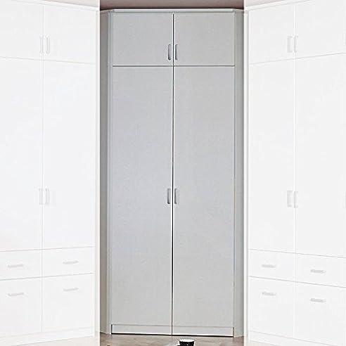 Eckkleiderschrank Weiß 2 Türen 117 X 117 Cm Mit Aufsatz Schrank  Drehtürenschrank Wäscheschrank Kinderzimmer Jugendzimmer Kinderzimmerschrank