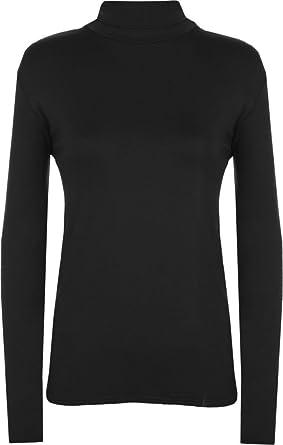 5a54069a394a5 RM Fashions Womens Plus Size Plain Long Sleeve Polo Neck Top Black Large   XL US