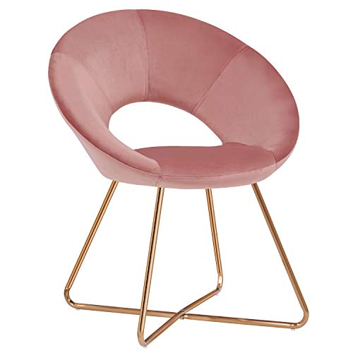 Accent Chair with Armrest,Duhome Home Office Chair Modern Golden Metal Frame Legs Velvet Padded Seat Easy Assembly Pink