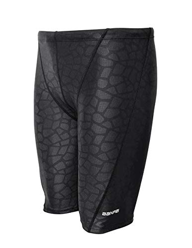 Srnfean Men's Quick Dry Swim Jammer Shorts Swimwear Black Print ()