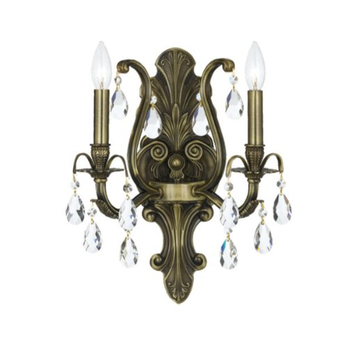 (Crystorama 5563-AB-CL-MWP Crystal Accents Two Light Bathroom Lights from Dawson collection in Brass-Antiquefinish, 7.50 inches)