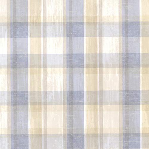 (Chesapeake CTR215312 Laney Blue Sunday Plaid Wallpaper)