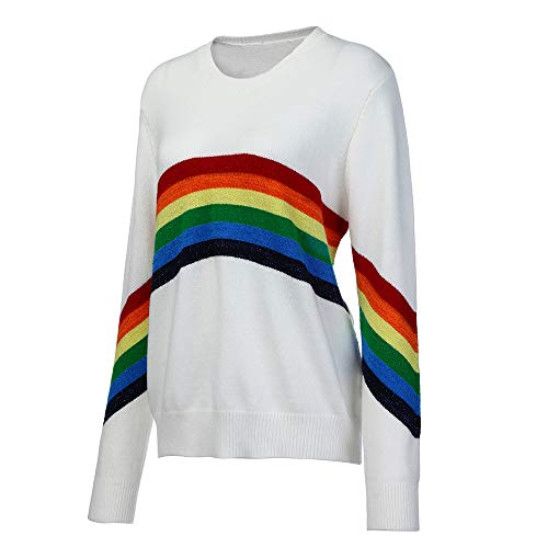 - Sweatshirt,Toimoth Women Casual Loose Long Sleeve Rainbow Print Pullover Blouse Shirts (M, WhiteC)
