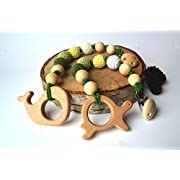 Natural Wooden Teething Toy and Pacifier Holder Strap Interchangeable Dummy Clip