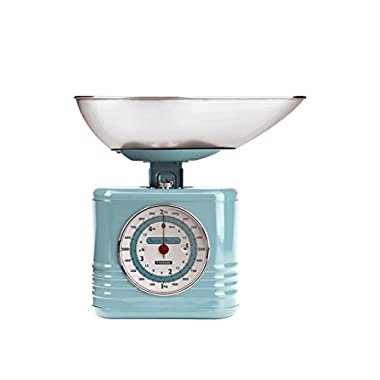 Typhoon Stainless Steel Vintage Mechanical Kitchen Scale, Blue