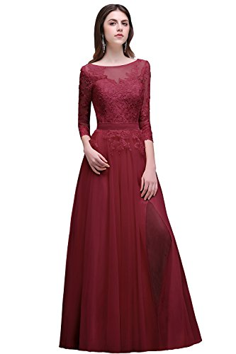 Women Lace Mother of the Bride Dresses for Evening Party,Dark Red,Size 14
