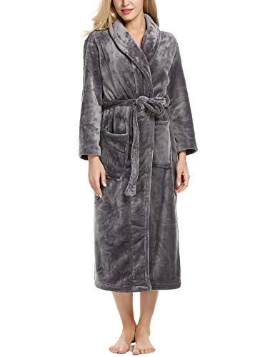 (Ekouaer Plush Robe Womens Comfort Short Fleece Hotel Wrap Bathrobe (Dark Gray, Small))