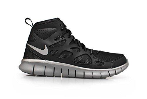 Nike Nike Free Run - Zapatillas de running de material sintético para niño negro Negro-Plateado