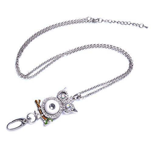 Owl Pendant Necklace Snap Button Charms Necklace Office Lanyard ID Badges Holded Filigree Round Pendant Necklace Clip …