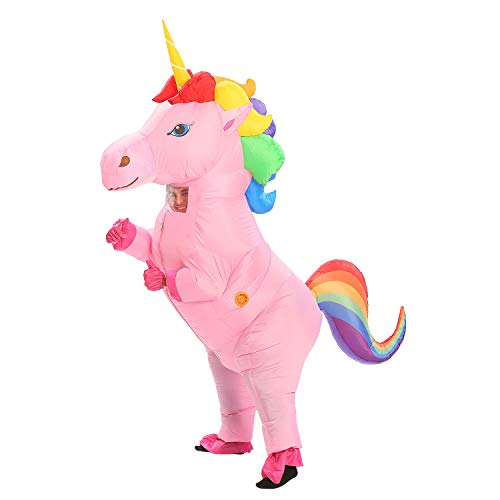 Inflatable Unicorn Costume Pony Horn Horse Suit for Halloween (Rainbow Large) ()