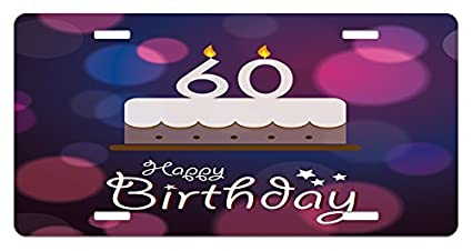 Zaeshe3536658 60th Birthday License Plate Cartoon Modern Party Cake Quote On An Abstract Backdrop Print